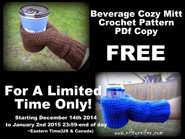 Free For A Limited Time! Beverage Cozy Mitt PDF Version http://www.niftynnifer.com/2014/12/free-for-limited-time-beverage-cozy.html #Crochet #CrochetPattern #BeerMitt #Coffee #BeverageMitt #Giveaway