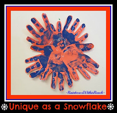 photo of: Painted Handprint Snowflakes via RainbowsWithinReach