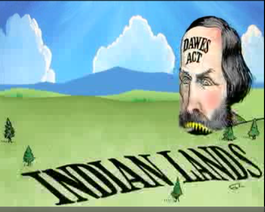 """(this clever drawing shows the """"Dawes Act"""" eating away at the indian land)"""
