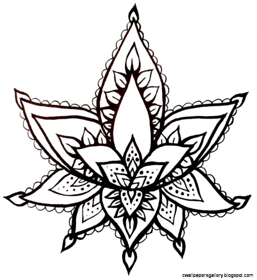 Lotus Flower Temporary Tattoo Hand Drawn Henna Style Illustration