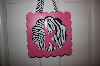 Hot Pink and Zebra girls room door sign
