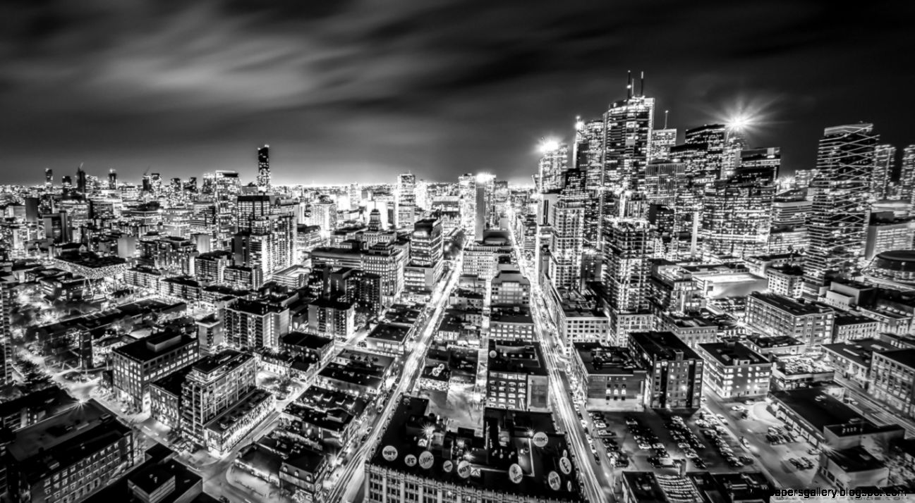 Downtown Toronto Night Black and White HD desktop wallpaper