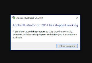 tampilan pesan error adobe illustrator