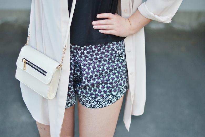 Outfit_Longcardigan_Chiffon_Cardigan_Shorts_Crop-Top_Heels_Clutch_ViktoriaSarina