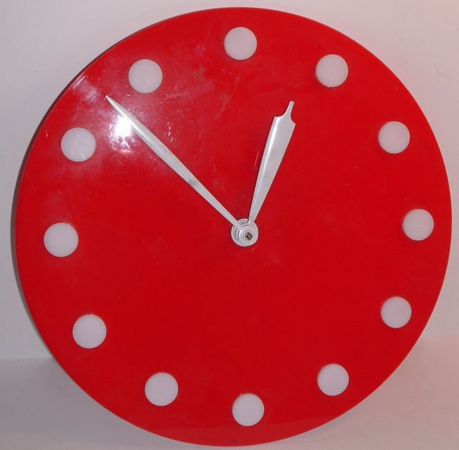 Vintage Mid century Mod LANSHIRE Wall Clock Red /White 1960s COOL Eames