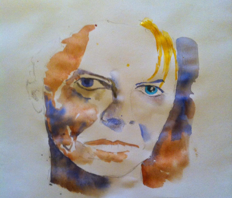 bowie portrait,watercolor portrait