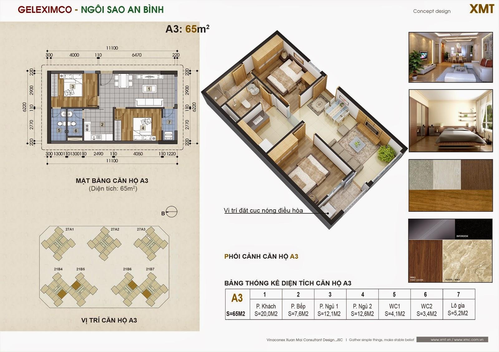 thiết kế căn A3 chung cư green star