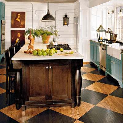 The country farm home ta dah the checkerboard floor for Country kitchen flooring