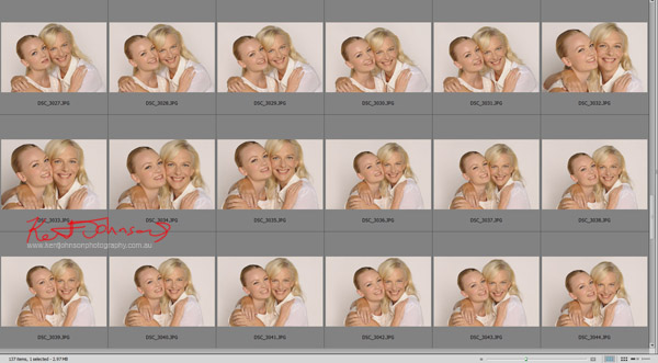 Client approval selection. Mother and Daughter beauty portrait for L'OREAL Mothers Day promotion.