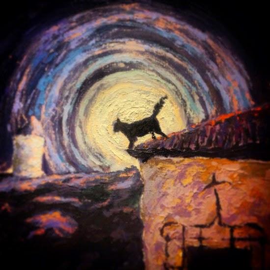 Camino por las calles empinadas, las estrellas pintan las paredes blancas con su luz, el aroma del campo y los naranjos en flor pintan el pueblo con sus sombras, la luna llena está cubierta por un velo, un gato negro observa desde el tejado.  Obra: Con la iglesia hemos topado Sancho  Autor: Emilio Morales Moral