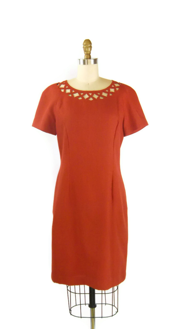 Clay red cut out dress foxburrow vintage
