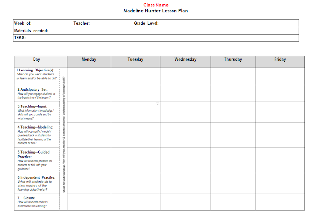 5E and Madeline Hunter Lesson Plan Templates – Madeline Hunter Lesson Plan Template