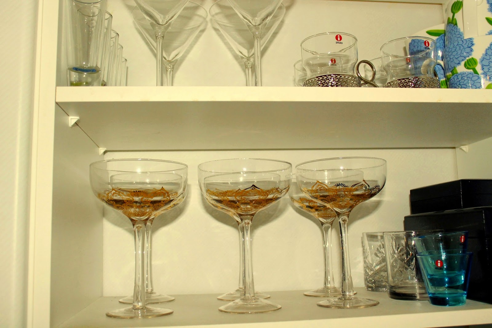 glasses in the cabinet