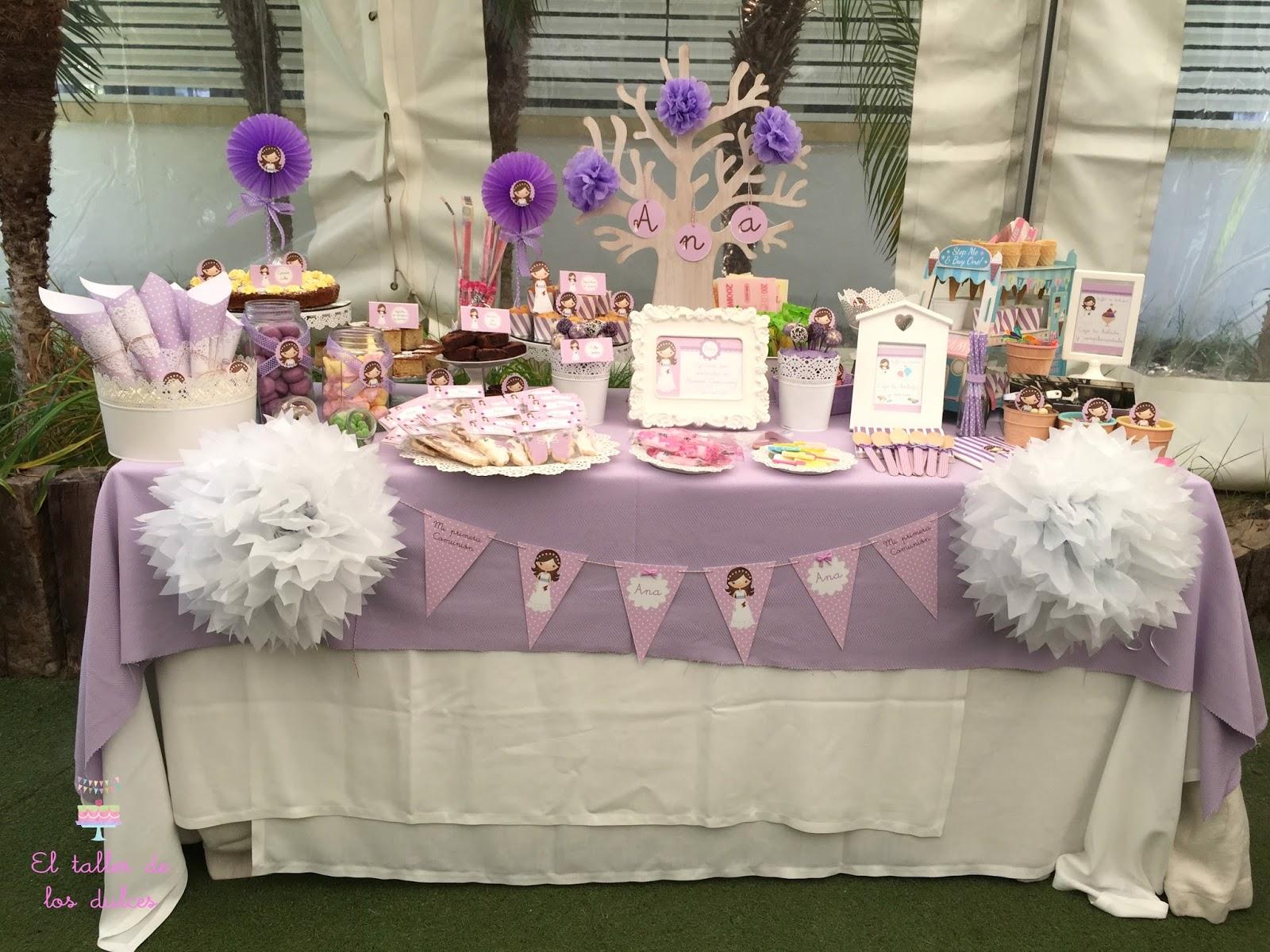 El taller de los dulces mesa dulce para la comuni n de ana - Ideas para decorar mesas de chuches ...