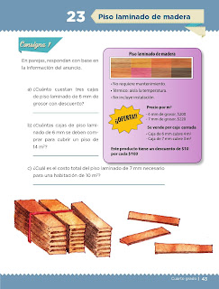 Apoyo Primaria Desafíos matemáticos 4to grado Bloque I lección 23 Piso laminado de madera