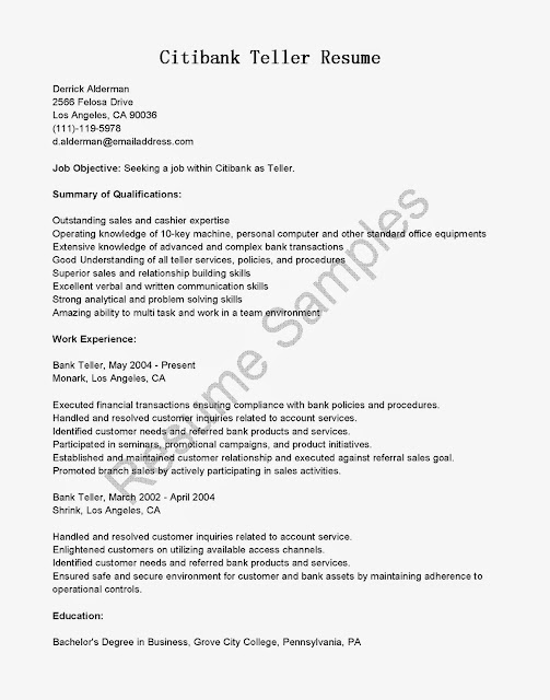 Citibank Teller Cover Letter Bank Teller Job Description For