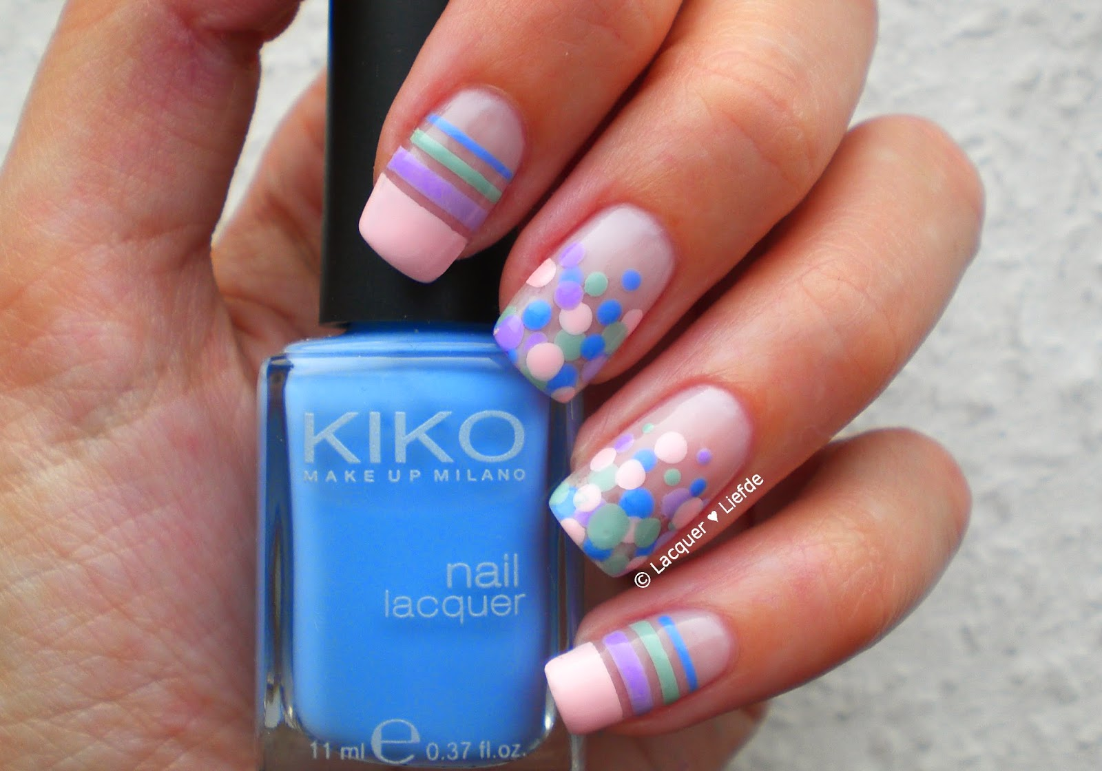 Dotting and striping design with kiko