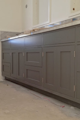bathroom renovation in a 1920s California bungalow. Shaker style cabinets. Benjamin Moore Overcoat