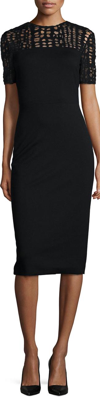 Jason Wu Lace-Yoked Jersey Sheath Dress
