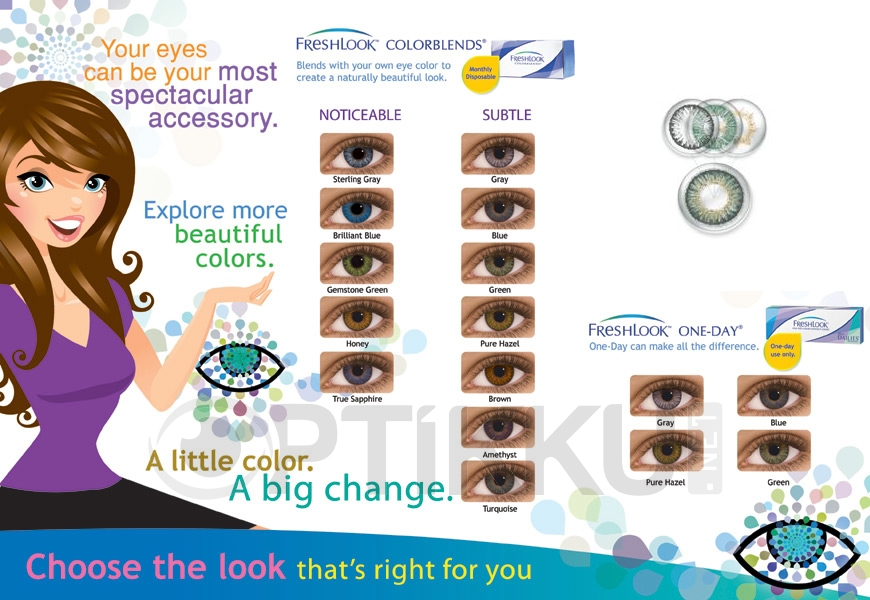 optikku softlens freshlook colorblends one day lensa kontak warna monthly dailies daily disposable bulanan harian ciba vision alcon
