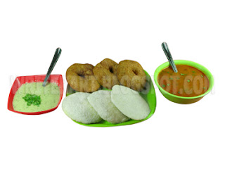 Indian stock image of Indian vegetarian breakfast of idli, vada, chutney and sambar