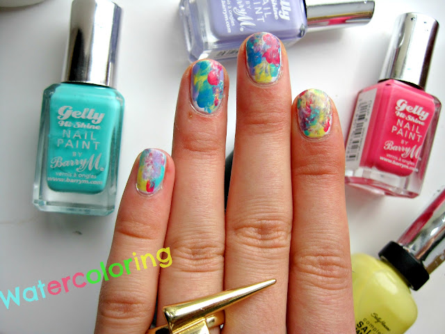 watercolor rainbow nail art nails