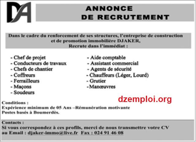 l u0026 39 entreprise de construction et de promotion immobili u00e8re djaker recrute  u00e0 boumerdes juillet 2015