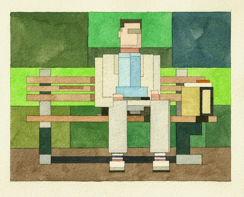 Adam Lister, acuarelas 8 bits, Forrest Gump