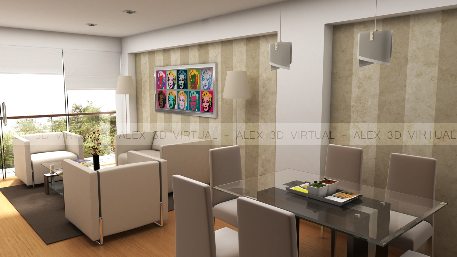 Arquitectura 3d for Sala comedor kitchenette