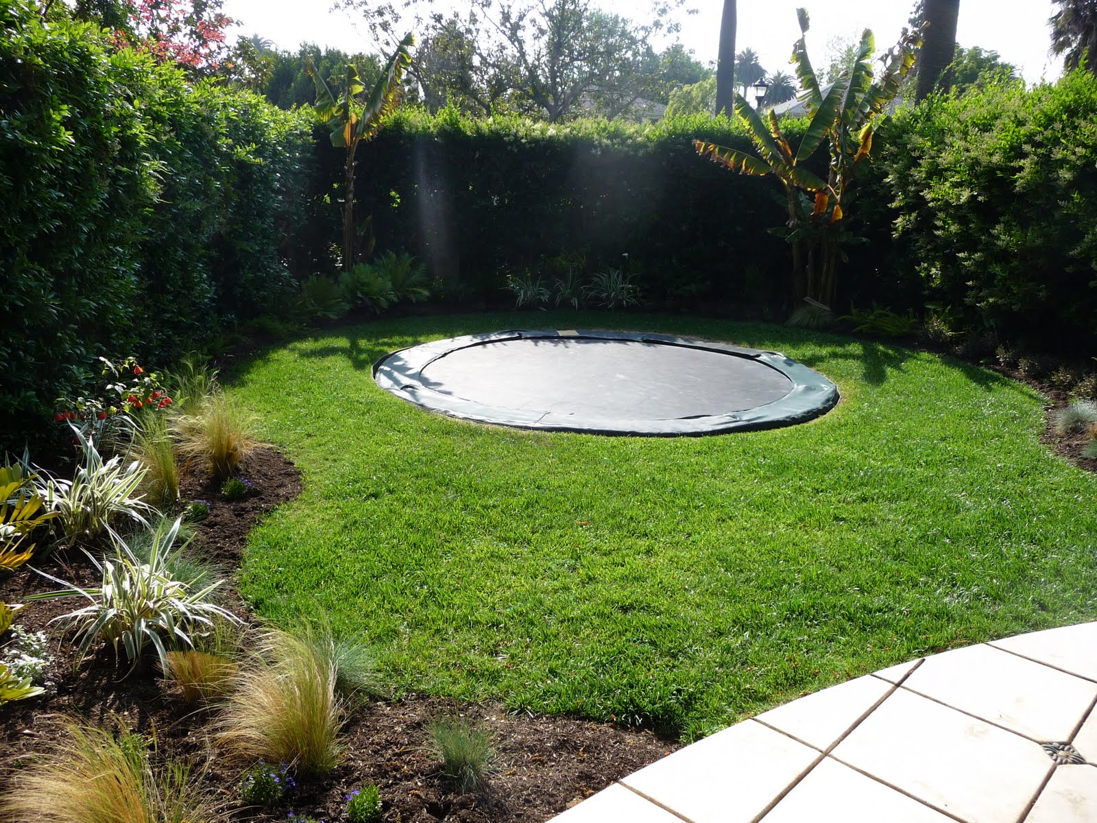 Brilliant Garden Design With Trampoline A Rear Interlocking