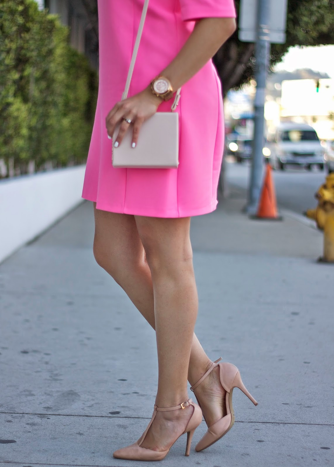 Charlotte Russe Nude Heels, Nude Heels with Hot Pink