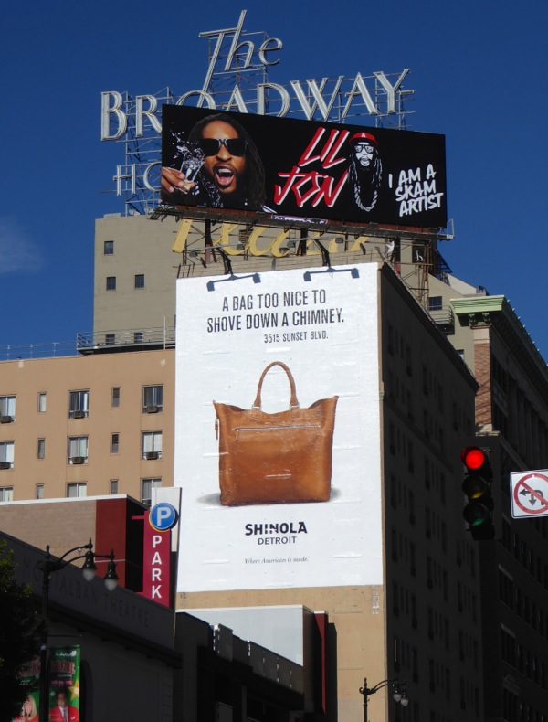 Shinola bag too nice to shove down chimney festive billboard