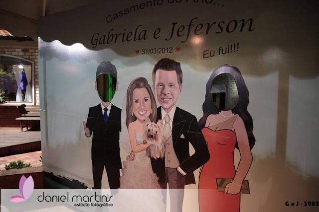 Baner de noivos - caricaturas M2LOPES