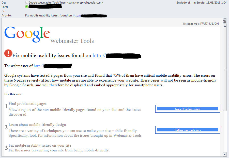 Captura de pantalla de un mensaje de parte de google advirtiendo al webmaster que su web contiene errores de usabilidad en móviles y le sugiere algunas herramientas y tutoriales que le ayudarán a corregirlos.