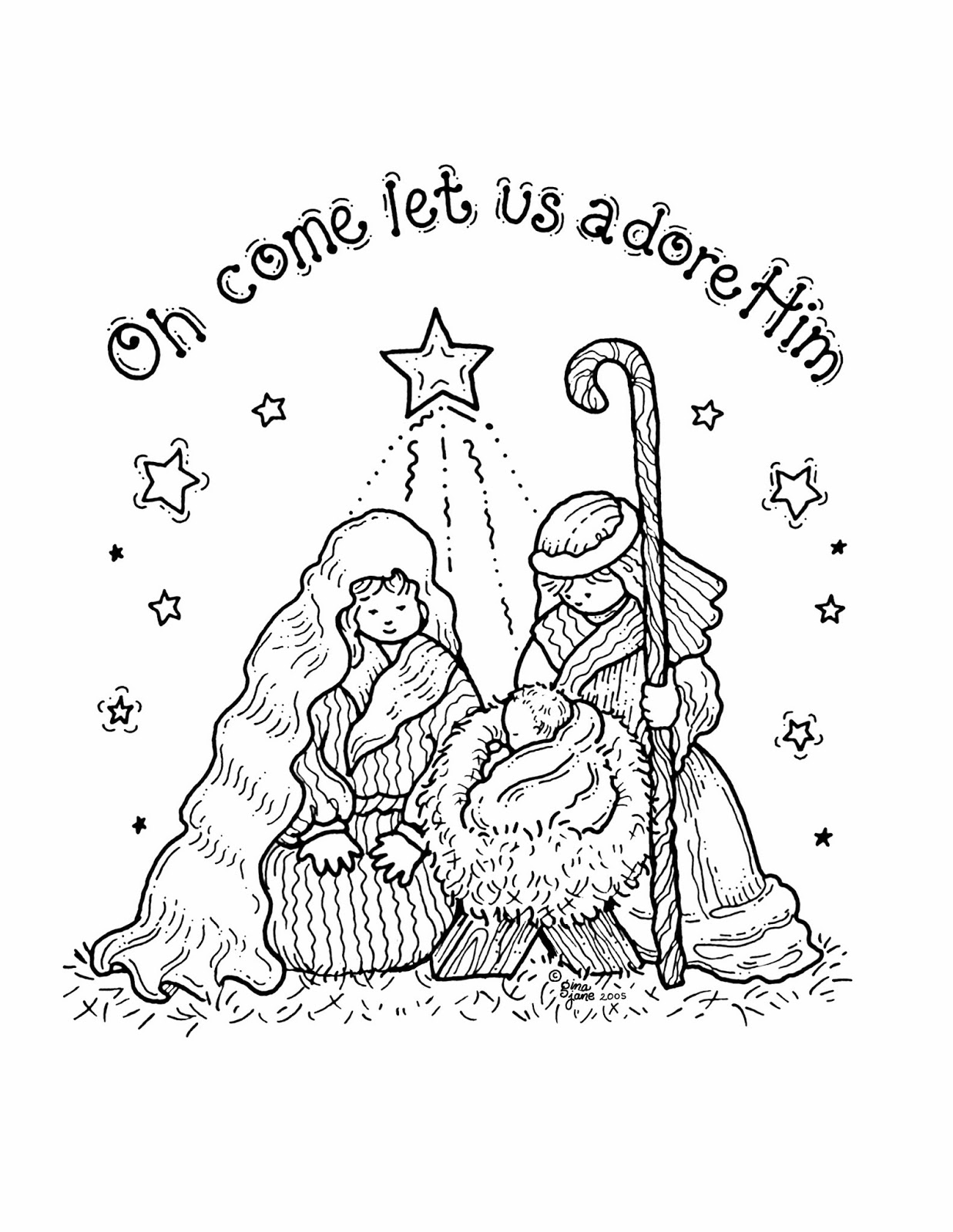 Borders Printable Stamps Cards Free Christmas Nativity Coloring Page