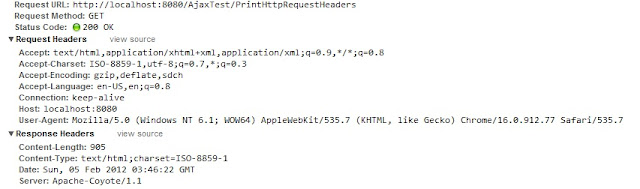 HTTP Request headers using Java Servlet