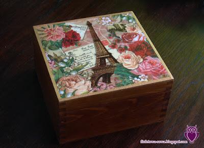Eiffel tower decoupage tea box