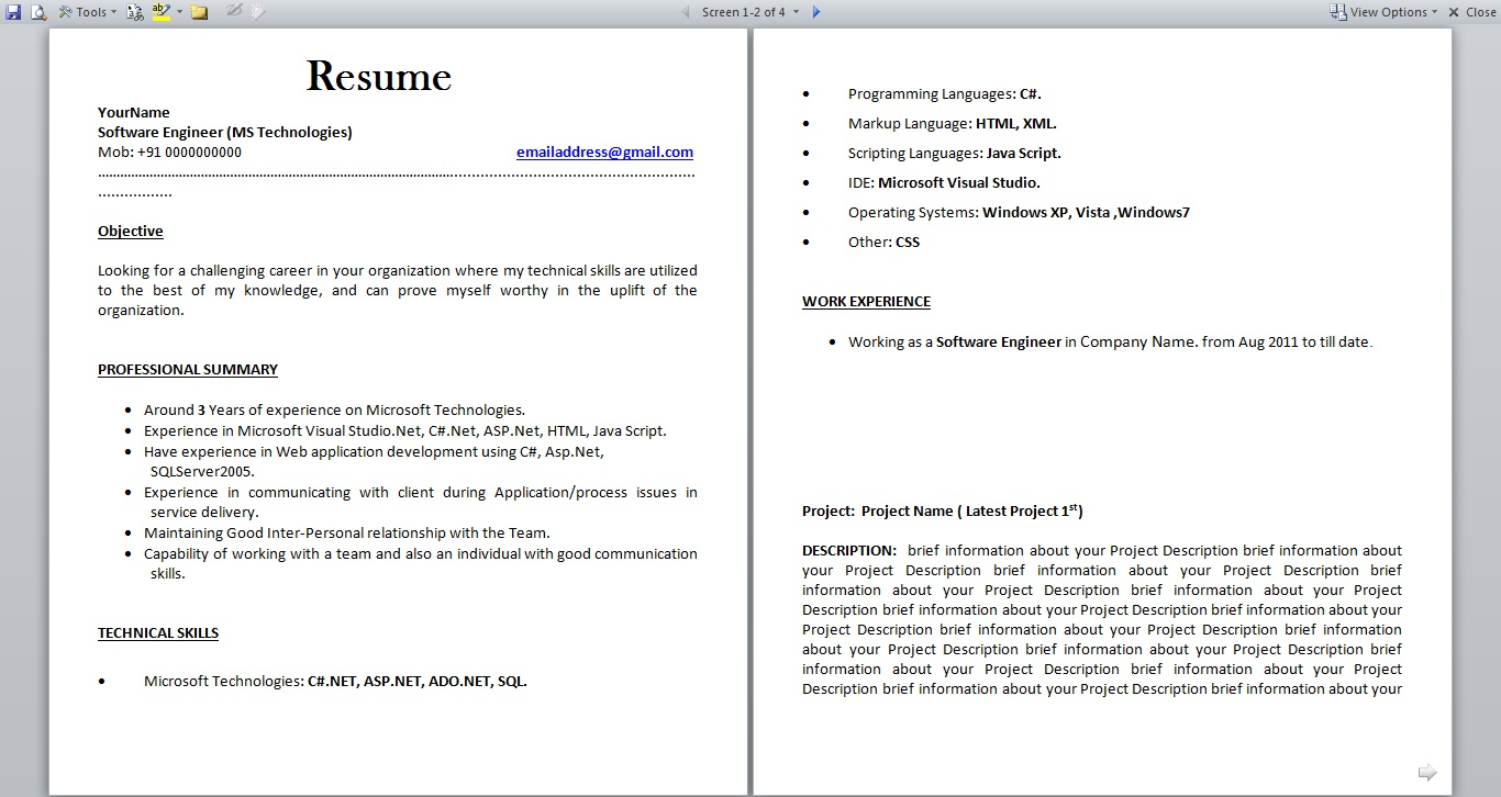 resume format for fresher and experience dotnet programmer