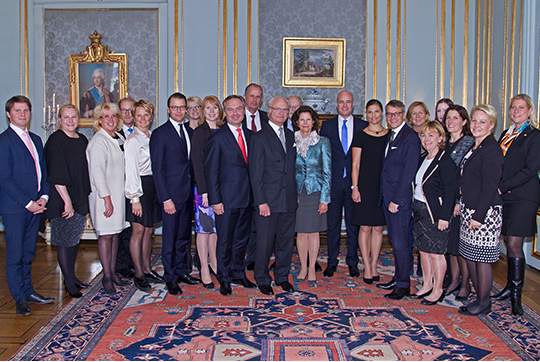 The reception was held at the Royal Palace in Stockholm.