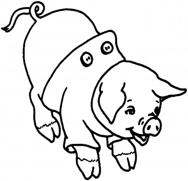 Printable cute animal pig coloring pages for kids