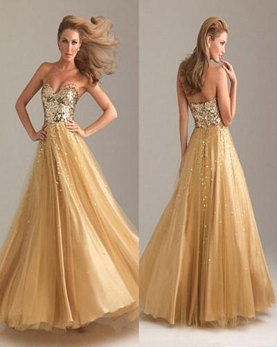 Latest Fashi... Beautiful Gold Prom Dresses 2013