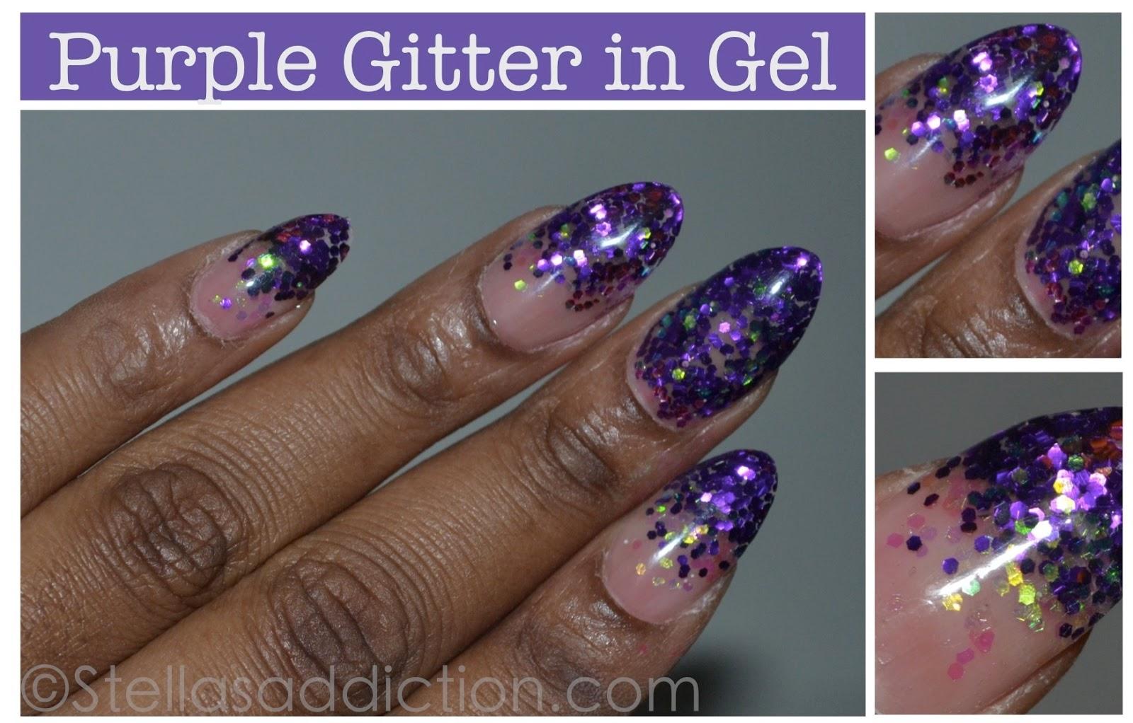 Notd Purple Glitter In Gel Nail Art Stellas Addiction