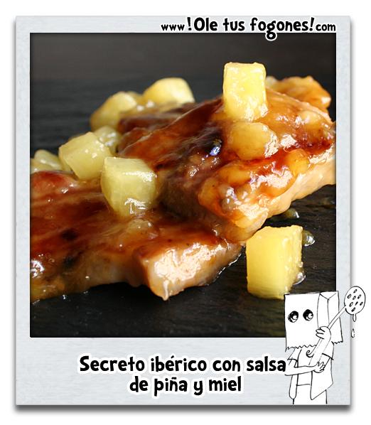 Secreto ibérico con salsa de piña y miel