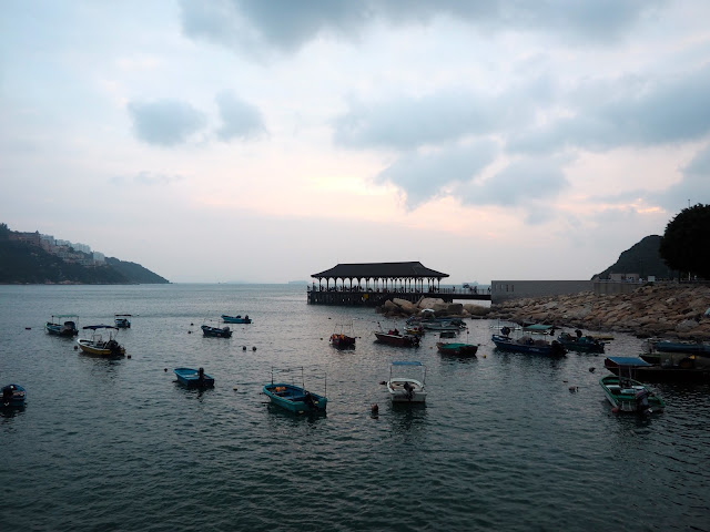 Fishing boats in the harbour by Blake Pier in Stanley harbour & waterfront, Hong Kong