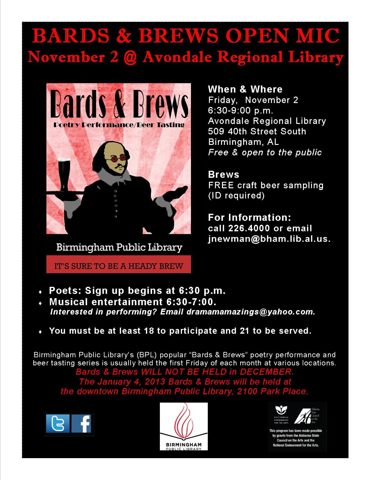 Bards and Brews November 2 flyer