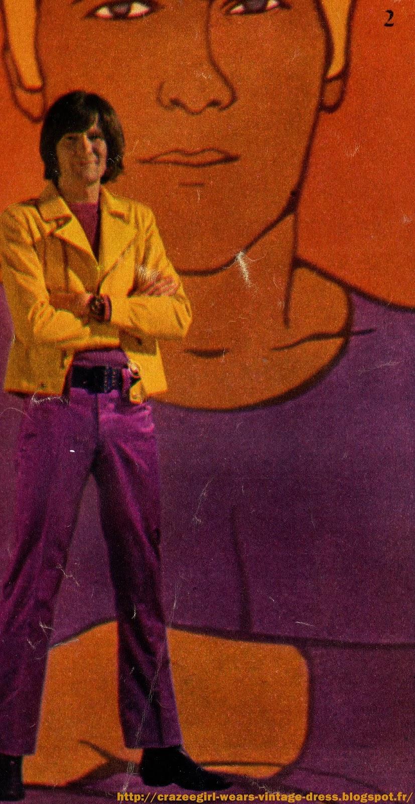 """Dans les décors de Guy Peellaert , pour le film """"Jeu de massacre"""" , les Charlots ont essayé les nouveautés de l'été qui commence .              Lucien : t-shirt Spiderman de Wells, blouson de daim Renoma , pantalon de toile Carnaby Street   Marcel : costume satin O' Brial , chemise Levis bleu marine  Alfred : sweatshirts """"Peanuts"""" de Wells , pantalon en éponge Carnaby Street , chaussure tennis Palladium Marcel : pantalon toile rayée O ' Brial , pull marine Campton, veste feutrine blanche O Brial , lunettes Lissac  Félix : pantalon toile jaune Carnaby Street , chemise manches courtes Hawaii de Wells , tennis Paladium , lunettes Lissac ucien : casquette Campton , t-shirt Marvel """" Fantastic Four """" de Wells , ceinture bande dessinée de Wells , pantalon toile Carnaby Street , tennis Palladium Montres Old England , Ramdan , Drugstore Marcel : pantalon satin O'Brial , pull mauve Campton, blouson toile jaune O'Brial, ceinturon toile Carnaby Street Marcel : chemise Wells , blouson """"Polnareff"""" de Carnaby Street , pantalon toile rayé O'Brial , tennis Palladium  Felix : chemise polo en épo,ge et maillot de bain éponge Carnaby Street  Lucien : Costume Mao en toile blanche Campton Tee Shirt Marvel """" Iron Man """" de Wells Alfred : costume toile rayée Carnaby Street , chemise O'Brial  Emile : chemise à pois Wells , blouson Tergal O'Brial , jeans Levi's vintage sixties années 60 1960s 1960's 60s 60's mod denim"""