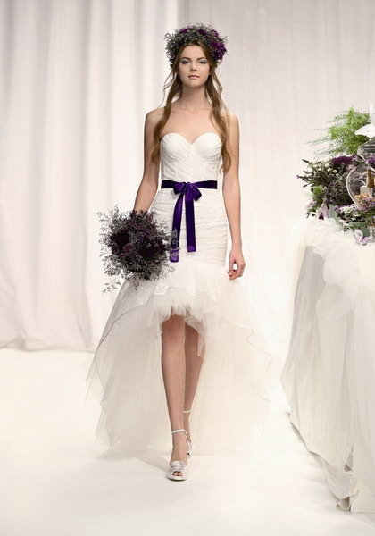 Strapless-Sweetheart-Neckline-Flattering-White high-low wedding dress with purple elegant sash