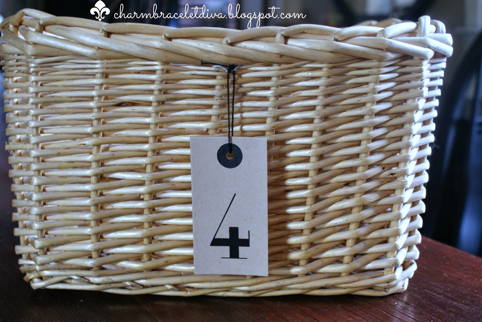 storage basket with preprinted number 4 tag