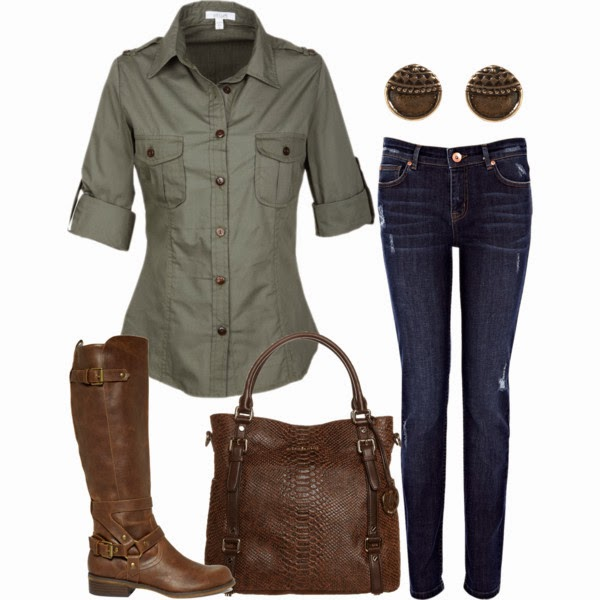 Amazing Fall & Winter Style - Grey Shirt and Dark Blue Jeans with Suitable Glasses, Brown Leather Handbag and Boots