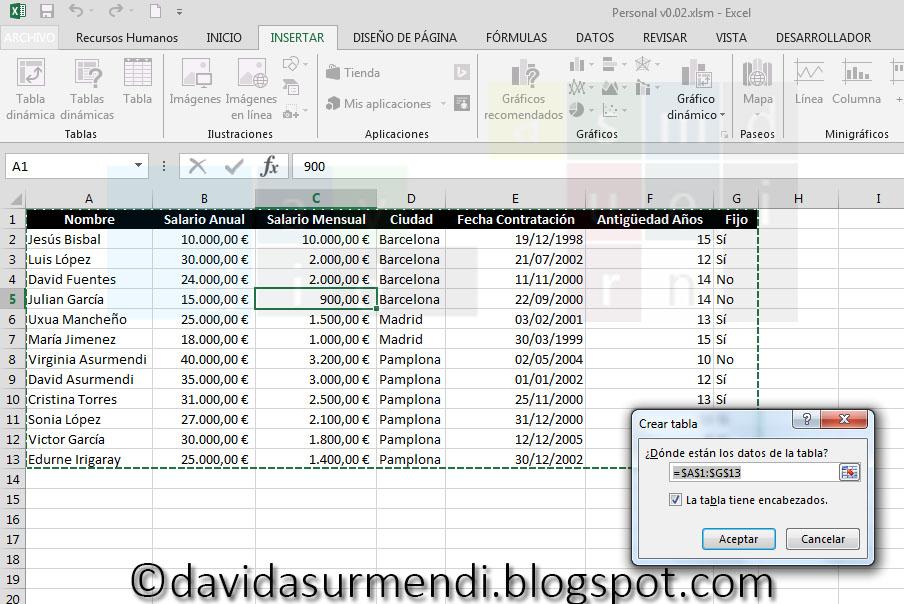 Ventana para crear Tablas en Excel.